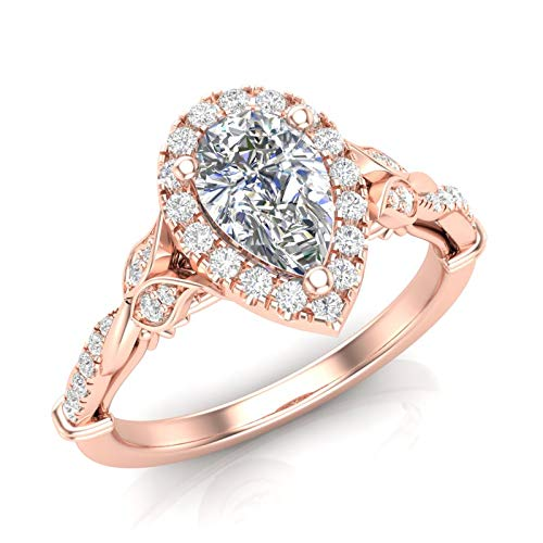 Amazon.com 14K Rose Gold Pear Shape Halo Ring Floral Band