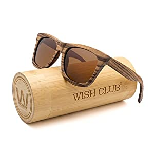 WISH CLUB Wayfarer Polarized Lenses Wood Frame Sunglasses for Women and Men Rimmed Mirrored Wooden Bamboo Eyewear for Unisex Mens Light Round Glasses with Box UV 400 Protection (Brown)