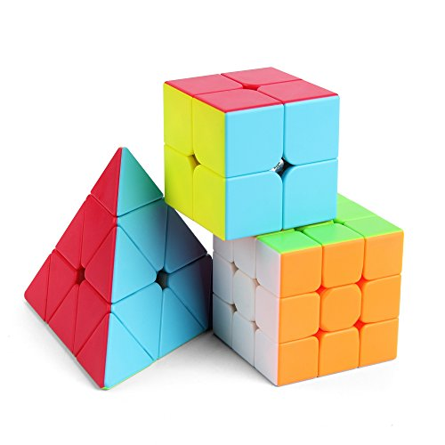 (Speed Cube Set,Roxenda Professional 2x2x2 3x3x3 Pyramid Cube Bundle - Easy Turning and Smooth Play - Solid Durable and Stickerless Frosted - Turns Quicker Than Original)