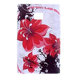 Red Flower Pattern Soft Case for LG Optimus L3 E400