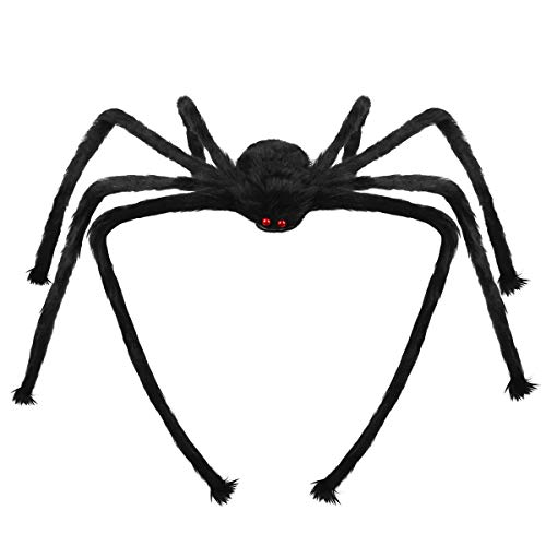 Libay Halloween Giant Spider, 6.6 FT Large Fake Hairy Spider Scary Decorations Halloween Spider Props Outdoor Yard Creepy Decor, Black]()