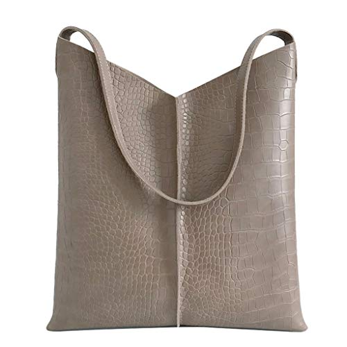 (Women's Leather Tote Bag Crocodile Pattern Texture Briefcase Magnetic Buckle Design Tote Bag Gift Bag Fashion Casual Large Capacity Daily Commuter Women's Shoulder Bag Messenger Bag (Khaki) )