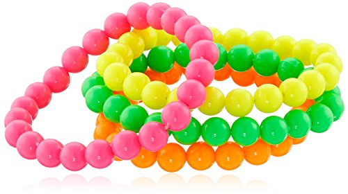 [Smiffy's Women's Neon Bracelets, Pack of 4, Assorted Colours, One Size, 27366] (80s Earrings)
