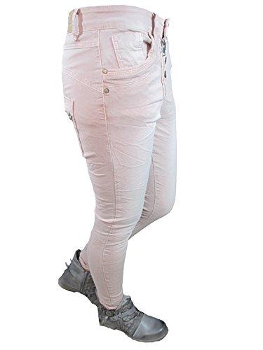 Abbottonatura Jeans Zip Altri Larghi Colori Lexxury Rosa Frontale Jewelly Donna Squadrate Ragazzo qxBF6T
