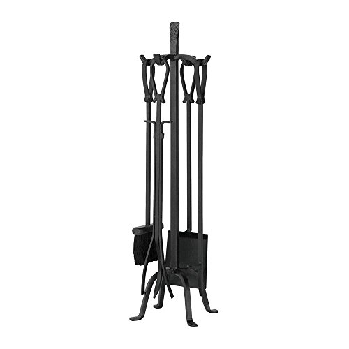 UniFlame Olde World Iron 5-Piece Fireplace Tool Set with Loop (5 Piece Natural Wrought Iron)