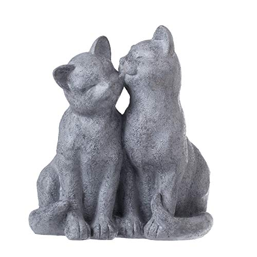PINE AND PAINT LLC Cat Statue Loving Cats Indoor Outdoor Grey Stone Finish ()