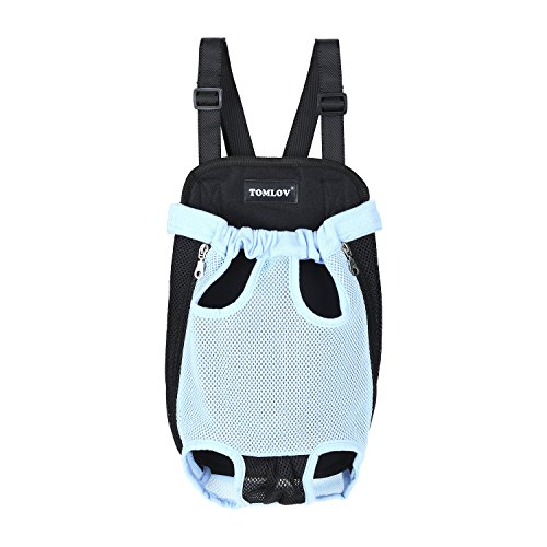 Front Dog Carrier ,TOMLOV Pet Puppy Dog Outdoor Backpack Front-facing Carrier Shoulder Bag for Walking Shopping Traveling Camping Hands-free (M, Blue) For Sale