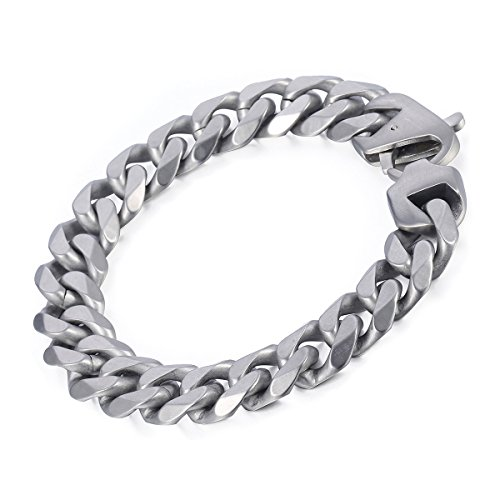 - Davieslee Mens Chain Bracelet 316L Stainless Steel Matte Brushed Cut Curb Cuban Link Silver Tone 14.5mm Customized