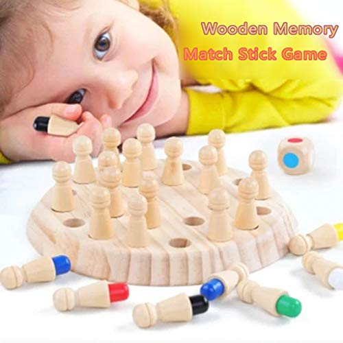 Children Wooden Memory Matchstick Chess Game, Educational Intelligent Toys, Logic Game and Brainteaser Children Early Educational Family Party Casual Gifts (Multicolor) from Dream -SZ