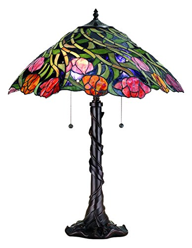 Meyda Tiffany 82314 Spiral Tulip Table Lamp, 25