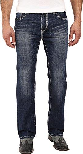 (Rock & Roll Cowboy Men's and Pistol Dark Wash Jeans Straight Leg Indigo 34W x 32L)