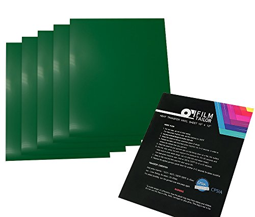 FilmTailor [PU HTV] 10 x 12 Heat Transfer Vinyl Basic 5 Sheets Excellent for T-Shirt, Hats and Any Fabric, Iron on for Silhouette Cameo, Cricut, Heat Press Machines (Green)