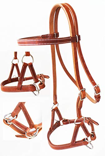CHALLENGER Amish USA Horse Western Harness Leather Bitless Training Side Pull Bridle 77RT02