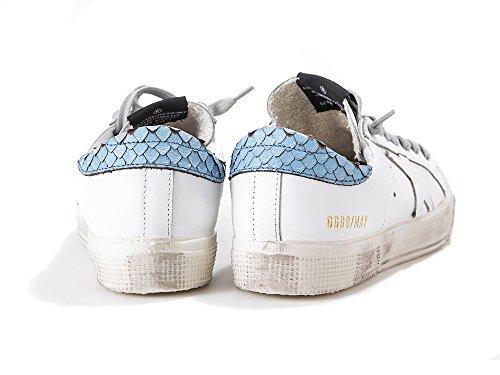 Golden Goose Deluxe Varumärke Kvinna Sneakers Superstar Vitblått Skridsko Kan G30ws127.e19