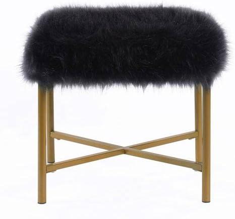 Meadow Lane Faux Fur Square Ottoman – Black