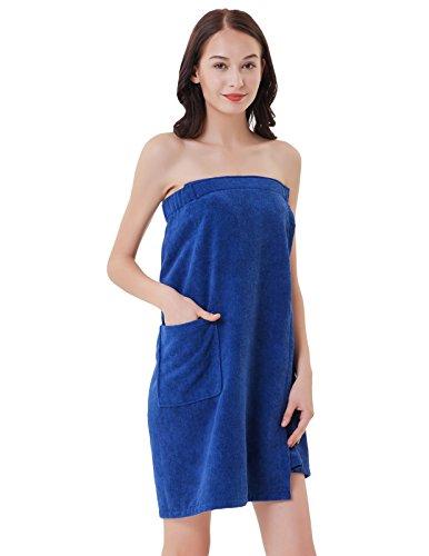 Zexxxy Women Bath Towel Spa Body Wrap with Pockets and Turban Blue S