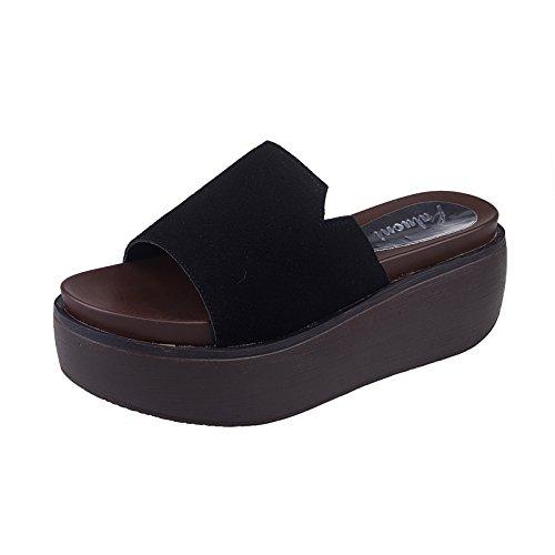 ZPPZZP Ms sandali pantofole uno studente selvaggi a tacco alto spessa Spiaggia 36EU nero