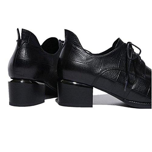 Señoras Mujer Nuevo Solo Zapatos Rough Medias Bajo Mediados De Punta Del Ojo Strappy Cuero Genuino Otoño Invierno Partido Trabajo , Black , EUR 35/ UK 3