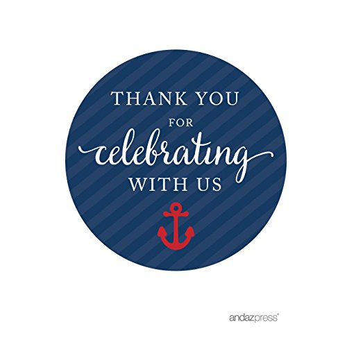 Andaz Press Nautical Baby Shower Collection, Round Circle Labels Stickers, Thank You for Celebrating with Us, 40-pack, For Ocean Sailor Bon Voyage Themed Party Favors, Gifts, - Stickers Anchor