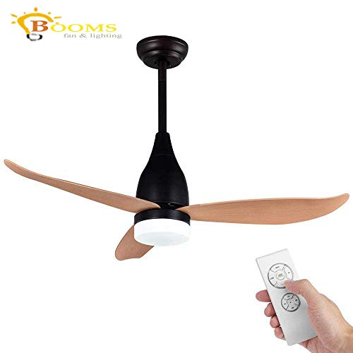 Remote Control Ceiling Fans with Lights Quiet Modern Ceiling Fan 3 ABS Blade 3 Speed Fan and LED Chandelier Black