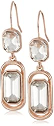 """Kenneth Cole New York """"Rose Blossom"""" Faceted Glass Crystal Stone Double Drop Earrings"""