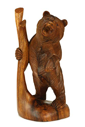 G6 Collection Wooden Hand Carved Standing Bear Statue Handcrafted Handmade Figurine Sculpture Art Rustic Lodge Cabin Outdoor Indoor Decorative Home Decor Accent Decoration Bear