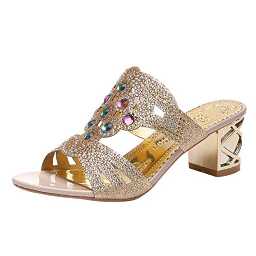 WENSYLadies and Ladies Bohemian Thick Crystal Thick with Roman Slippers Sandals Open Toe Casual Shoes(Gold,38)