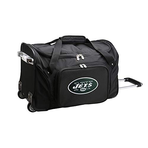 NFL New York Jets Wheeled Duffle Bag, 22 x 12 x 5.5, Black ()