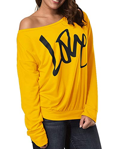 Smile fish Women's Casual Love Printed Sweatshirts 80s Costumes Hoodies Off The Shoulder Slouchy Shirt (S,Yellow) 091 -