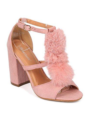 Heart.Thentic ELENA-10 Women Faux Suede Peep Toe Pom Pom Block Heel Sandal HB93 - Pink Faux Suede (Size: 6.5)