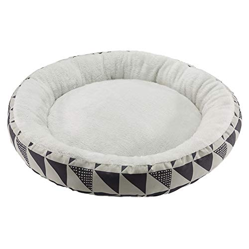 Hollypet Printed Flannel Round Plush Dog Cat Bed Self-Warming Pet Bed, Gray Pattern