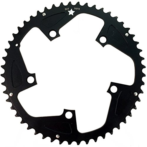 USAMade 130mm BCD 5-Bolt SharkTooth Pro CXR Road/Cross Chainring Made in USA (52 Tooth) (11 Speed Chainrings On 10 Speed Crank)