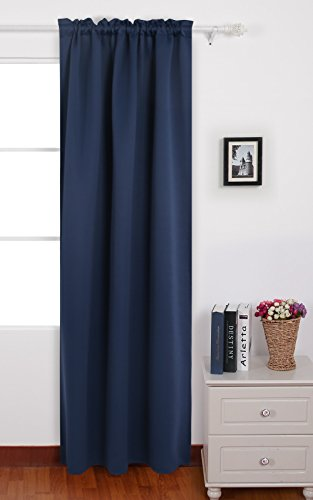 Panel 84l (Deconovo Navy Blue Blackout Curtains Rod Pocket Thermal Insulated Curtains for French Doors 42 W x 84 L Navy Blue 1 Panel)