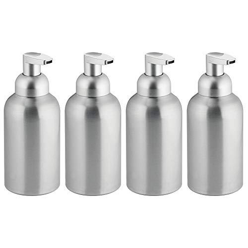 mDesign Large Modern Metal Foaming Soap Dispenser Pump Bottle for Kitchen Sink Countertop, Bathroom Vanity, Utility/Laundry Room, Garage - Save on Soap - Rust Free Aluminum - 4 Pack - Brushed/Silver ()