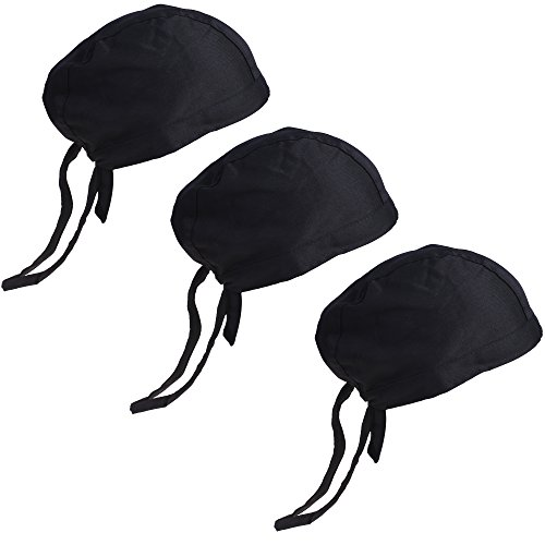 Chef Pack - COSMOS Pack of 3 Chef's Hat Kitchen Catering Skull Caps for Men or Women, Black Color