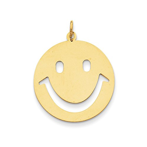 Mia Diamonds 14K Yellow Gold Smiley Face Charm (30mm x 25mm)