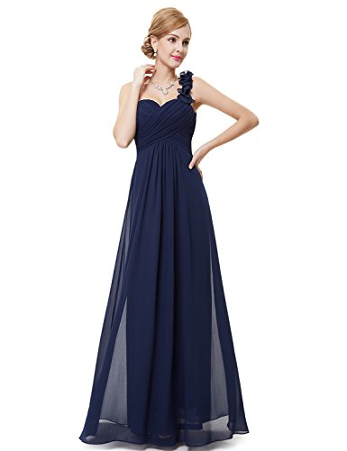Ever-Pretty Womens One Shoulder Flower Long Military Ball Dress 16 US Navy Blue