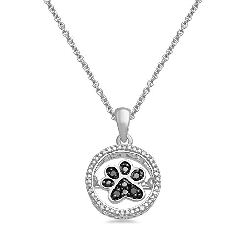 Jewelili Sterling Silver Black and White Diamond Accented Dancing Dog Paw Circle Pendant Necklace, 18 Box Chain