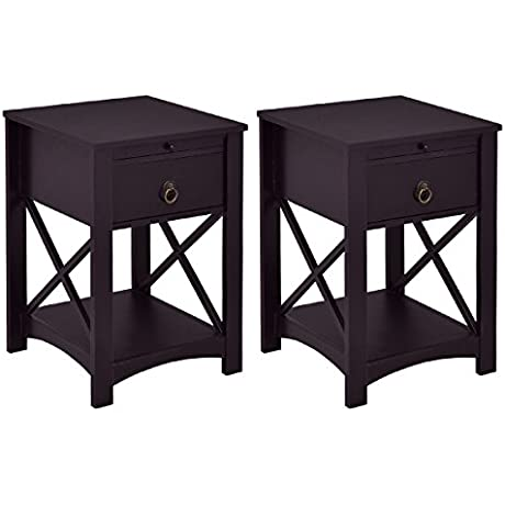 Giantex Sef Of 2 Night Stand End Table With Storage Shelf Bedroom With Drawer And Slide Tray Home Furniture 2 Brown