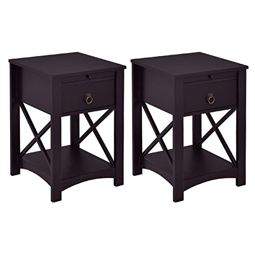 Giantex Sef Of 2 Night Stand End Table with Storage Shelf Bedroom with Drawer and Slide Tray Home Furniture (2, Brown)