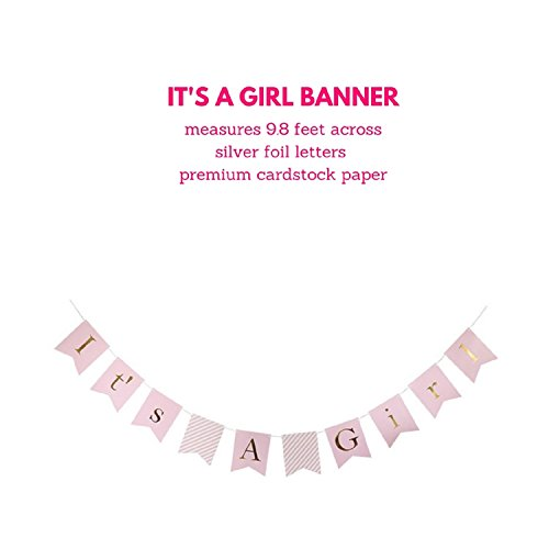 Baby Shower Decorations for Girl, It's A Girl Banner,Pink and Gold Baby Shower Decorations, Tissue Paper, Fans, Honeycomb Paper Balls, Tassels, 18pcs., Hanging ,Party Supplies ,Indoor/Outdoor by Qutechat (Image #2)
