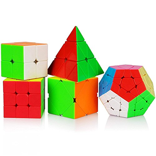 Dreampark 5in1 Speed Cube Bundle 2x2 3x3 Megaminx Skew Pyramid Stickerless Smooth Magic Cube Puzzle Toy Set of 5 Colorful