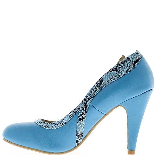 Blue scarpe con tacchi sottili di 9,5 cm con bordatura
