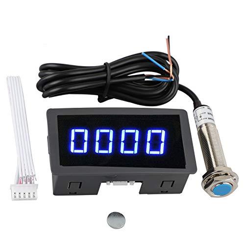 EEEKit 4 Digital Red/Blue LED Tachometer RPM Speed Meter + Hall Proximity Switch Sensor NPN Led Panels Digital Led Module (Speed Sensor Digital)