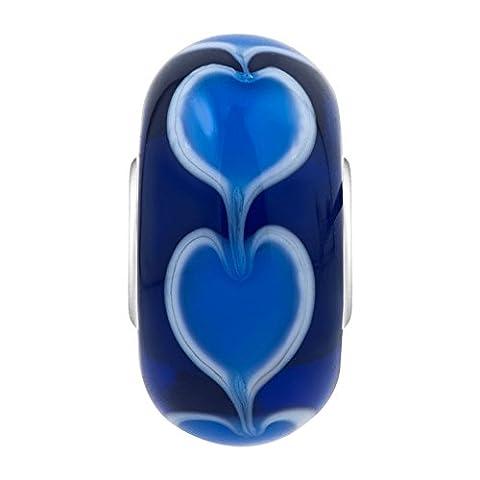 ShinyJewelry Deep Blue Hearts Love Murano Glass Charm Beads For European Bracelets - Deep Blue Murano Glass
