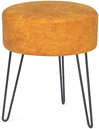 Asense Fabric Foot Stool Ottoman Soft Upholstered Padded Footrest Seat Metal Legs Decorative Furniture Footrest Vanity Seat