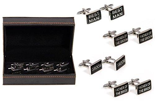 MRCUFF Wedding Party Groom Best Man Father of Bride/Groom 4 Pairs Cufflinks in a Presentation Gift Box