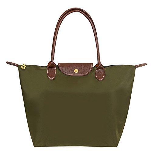 Mynos Brand Women's Stylish Zipper Waterproof Handbag Hobos Shoulder Tote Beach Fold Bag (Big, Army green)