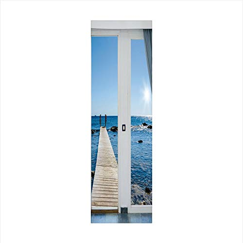 Decorative Window Film,No Glue Frosted Privacy Film,Stained Glass Door Film,Coastal Decor Ocean Sea Sunny Scenery with Patio from Window,for Home & Office,23.6In. by 78.7In Light Blue and - Glass Stained Ripple