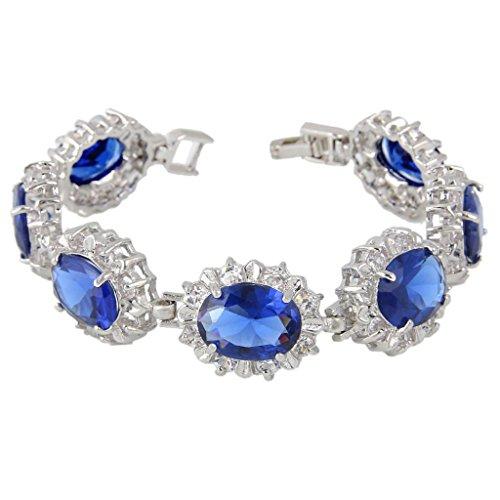 EVER FAITH® Silver-Tone Zircon Elegant Flower Link Bracelet Royal Blue Sapphire Color (Roman Head Wear)